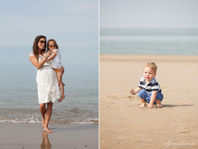 Photos of a family on a beach