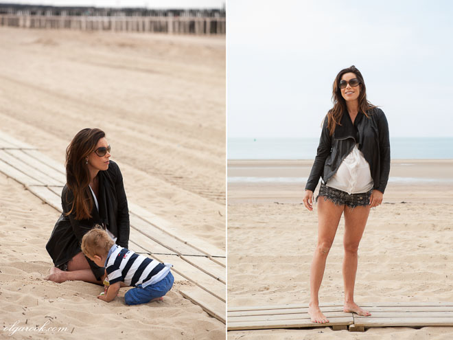 Photos of a beautiftul pregnant woman on a beach