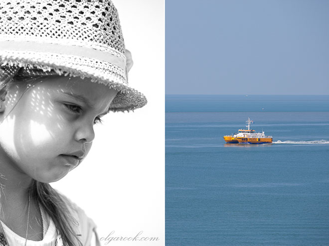 Photo of a little girl wearing a summer hat,