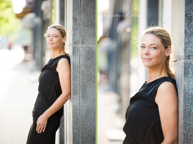 Portraits of an elegant blond lady on a street.