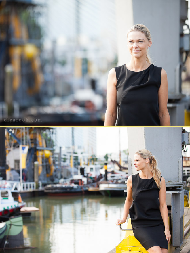 Business portrait of an elegant lady in the center of Rotterdam, in a colourful industrial setting of the Leuvenhaven harbour.