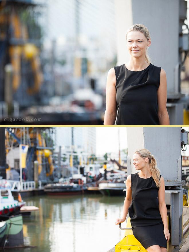 Zakelijke portret van een elegante damen in het centrum van Rotterdam, in de kleurrijke industriële setting bij Leuvenhaven