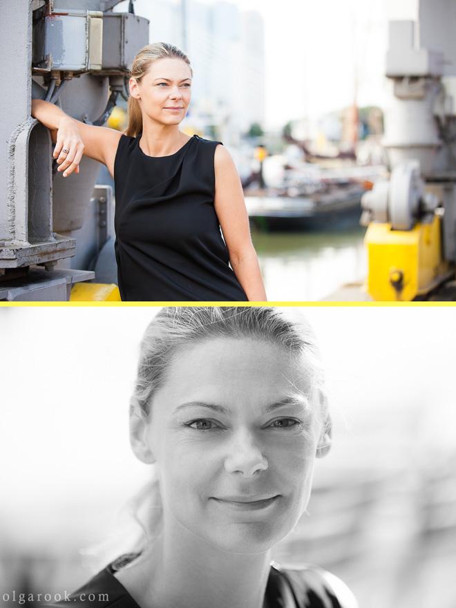 Portret van een elegante zakenvrouw bij Leuvenhaven in Rotterdam