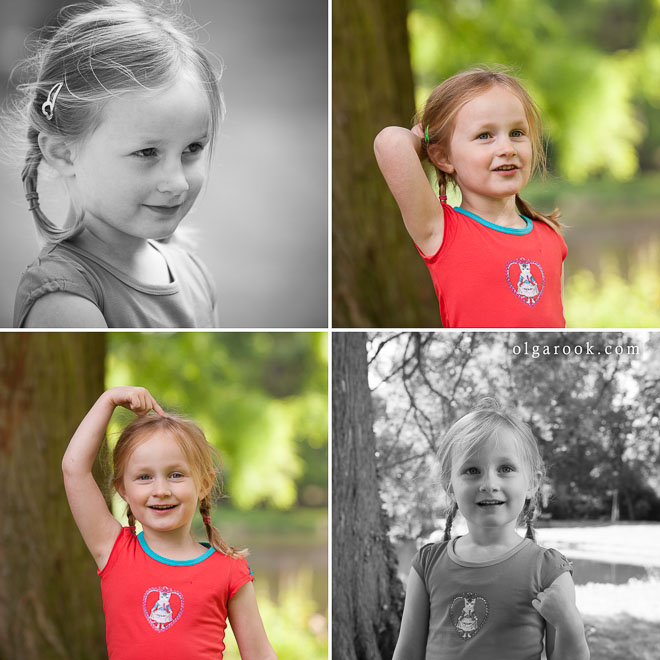 Portraits of a little girl in a park