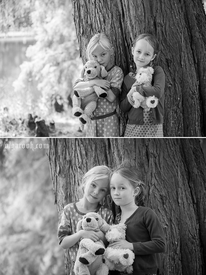 Photos of two little girls in a park under a large tree.