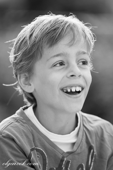 Natural and classic portrait of a laughing boy