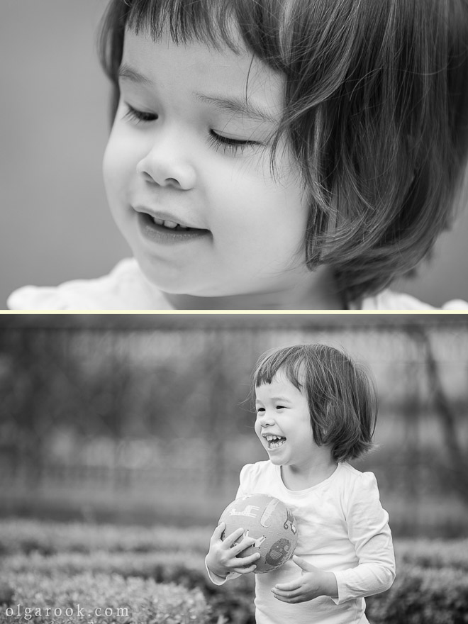 Photos from a black and white reportage of a two-year old girl in a park