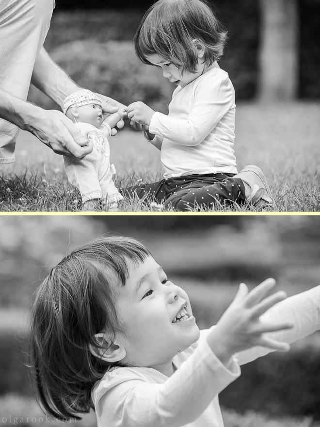 Photos of a little girl playing in a park
