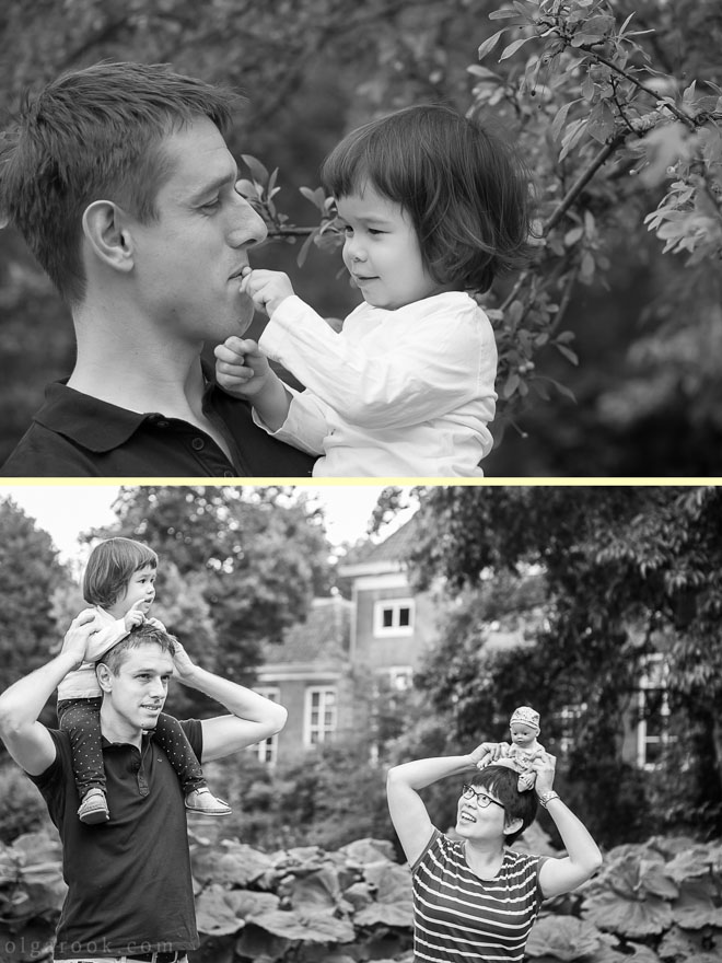 Photos of parents playing with their little daughter in the Park in Rotterdam