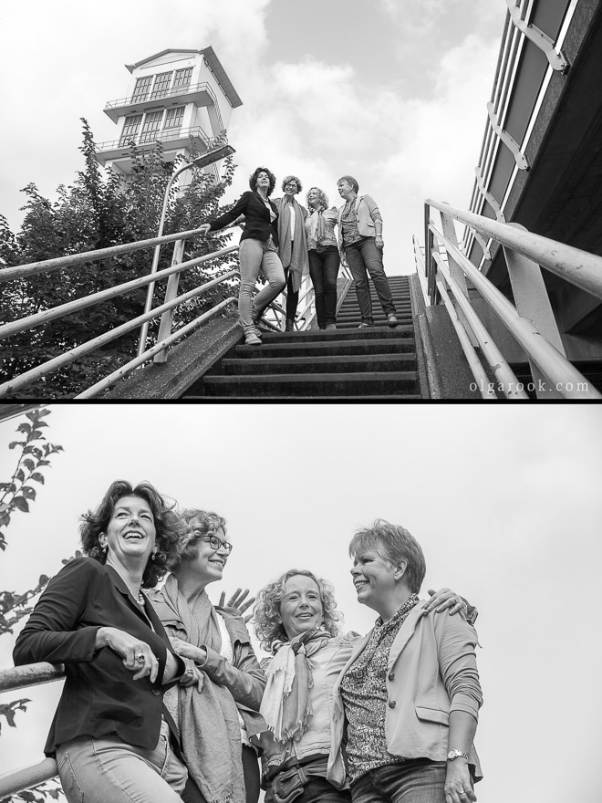 Photos of a group of women chatting and posing together on the stairs
