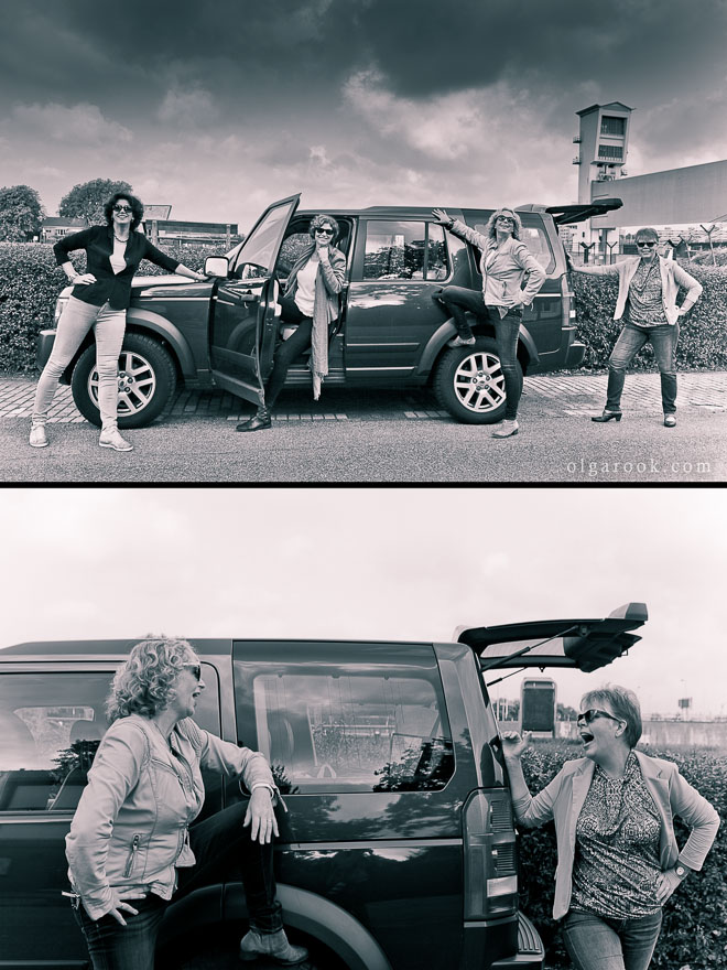 Group photos of four ladies with a Land Rover