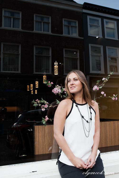 Portrait of a woman in a street