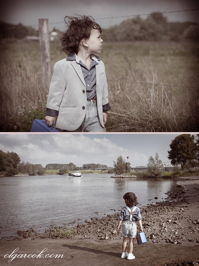 Nostalgic and vintage style images of a little boy walking with a small suitcase through a field and along a river bank watching the boats.