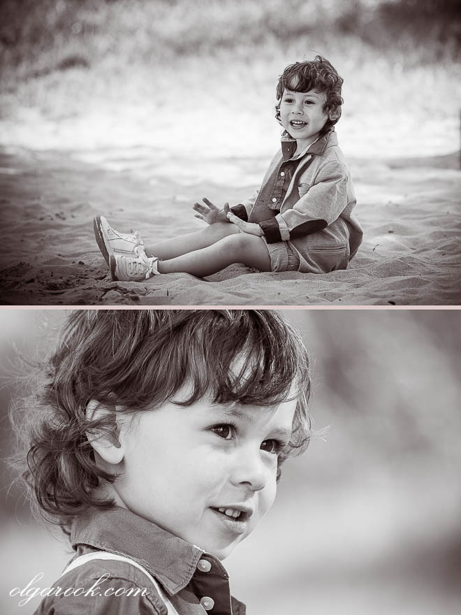Vintage-like images of a little curly boy