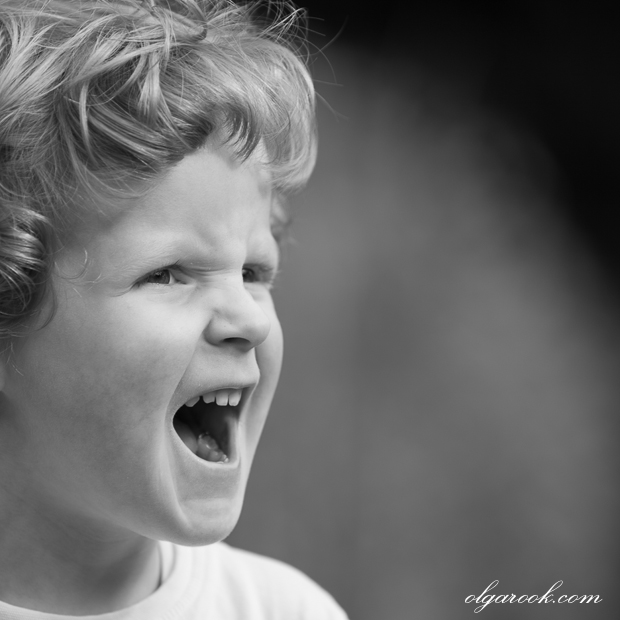photo of a little boy shouting