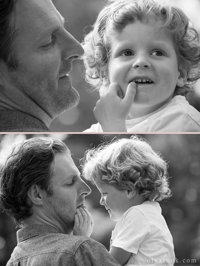 photos of a little curly boy playing with his father