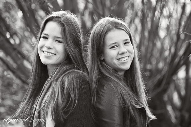 Black and white portrait of two eighteen-year old girls