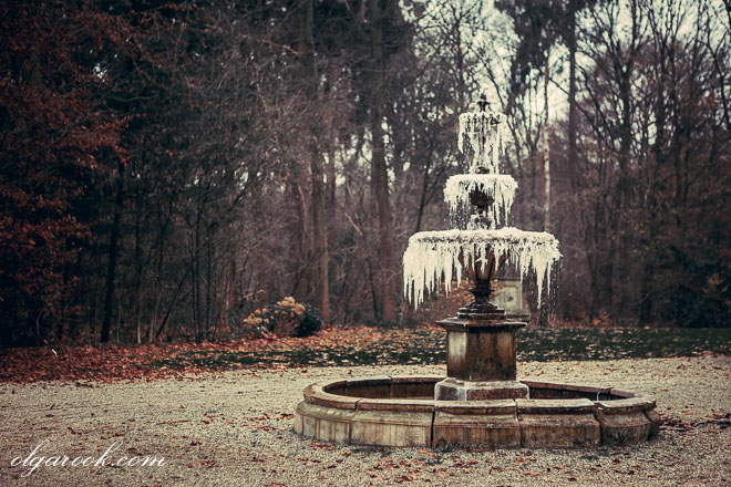 photo of a frozen fountain in a park