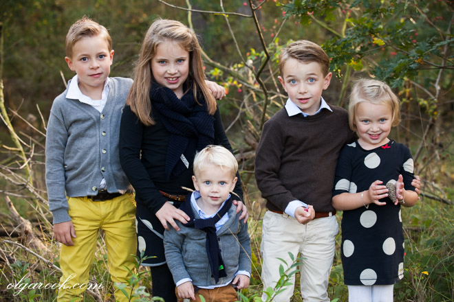 outdoor group portrait of five children