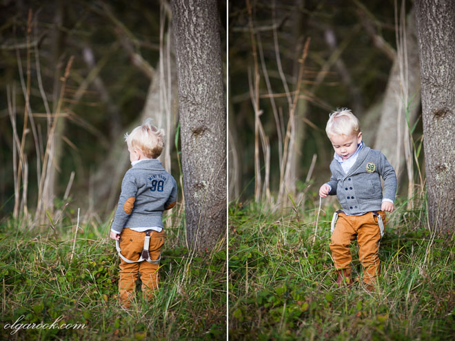 photos of a little boy walking in the wood