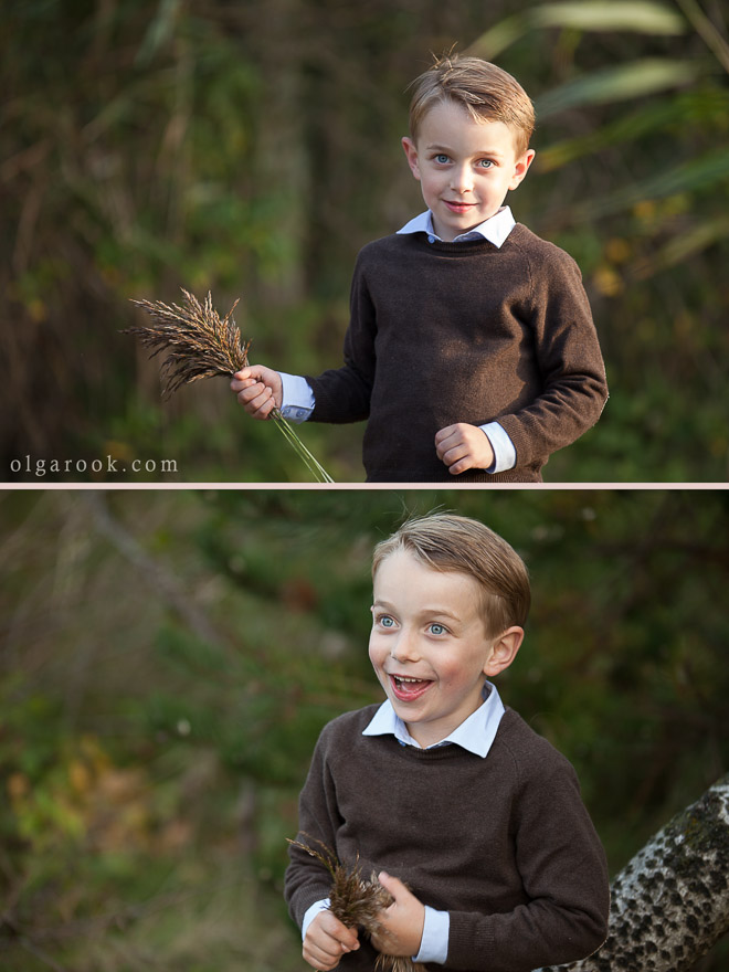 Photos of a little boy with a bouquet of grass