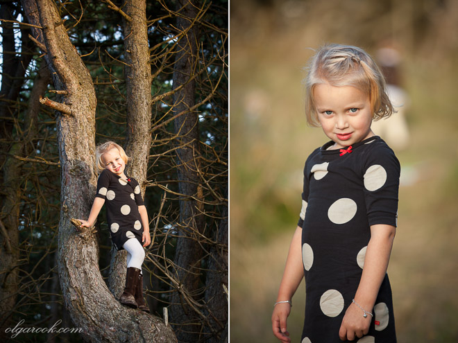 photos of a little girl standing in a tree and in a field