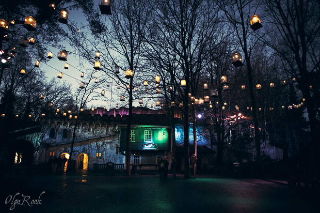 Magic lights in the Efteling in the evening