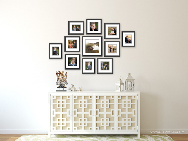 Example of a wall gallery with eleven matted photographs.