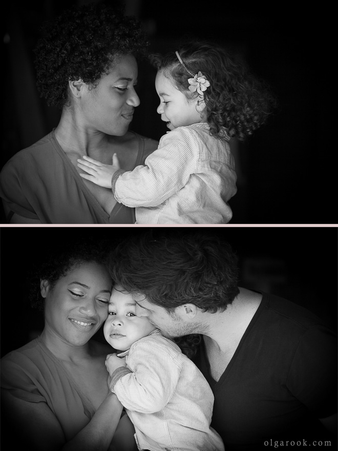 portraits of a little girl with her parents