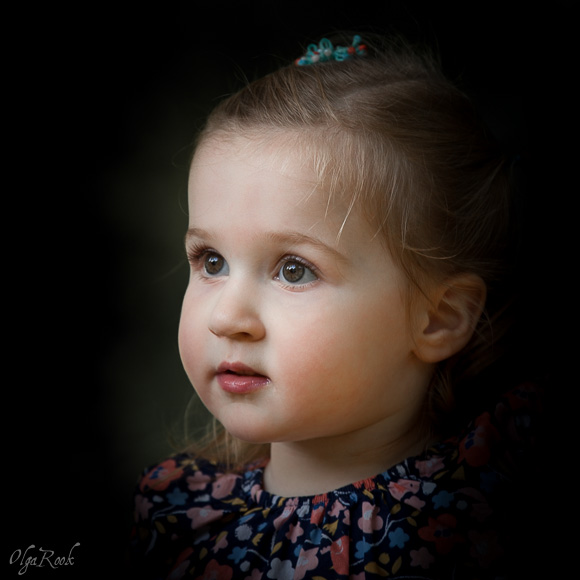 Artistic portrait of a little girl. Lighting makes one think of old masters' paintings. The portrait expresses the child's purity and innocence.