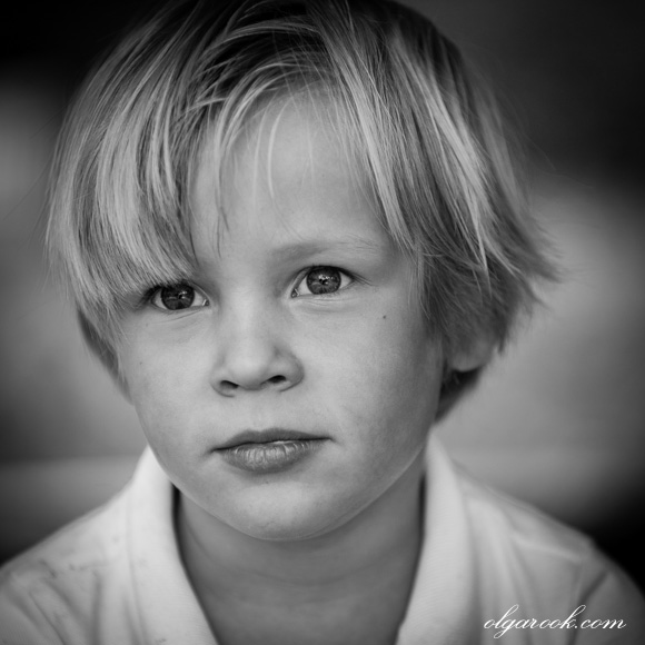 Classic black and white portrait of a four-year old boy