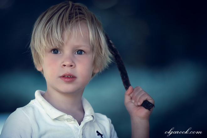 Colourful portrait of a brave looking little boy