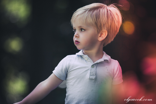 Portrait of a little boy in magic light