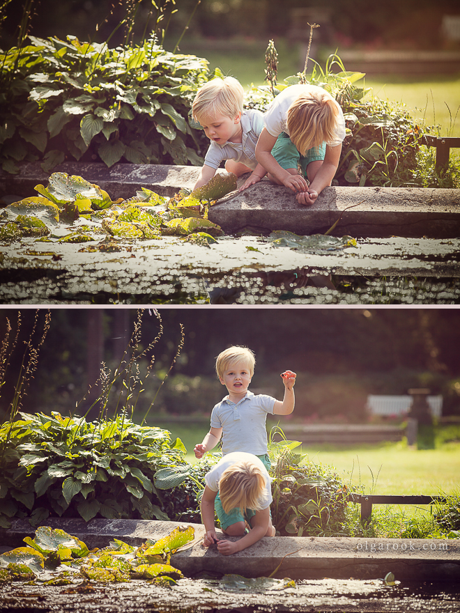 photos of two little brothers playing together at a pond on a sunny summer day.