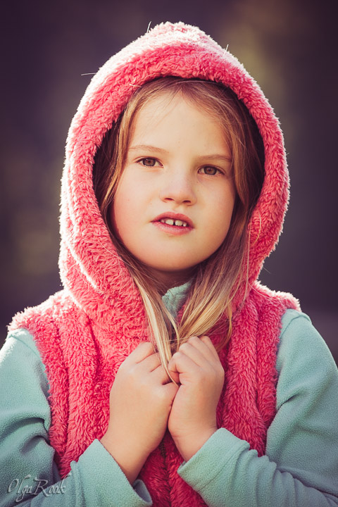 Portrait of a little girl as a Little Red Riding Hood