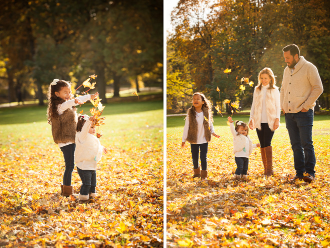 autumn family reportage: playing with the golden leafs