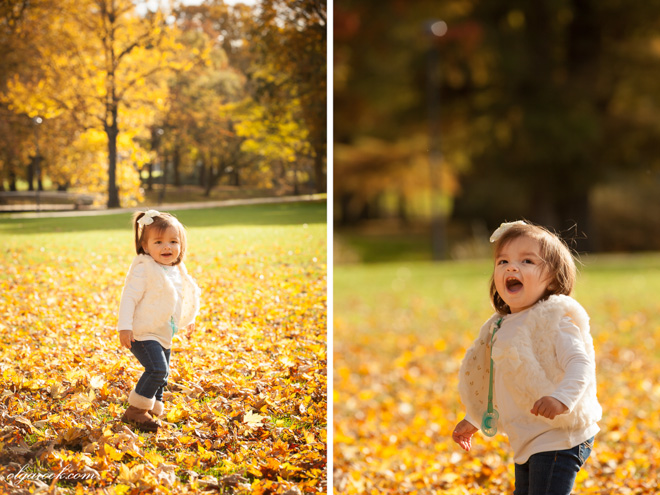 portraits of a little girl in an autumn park