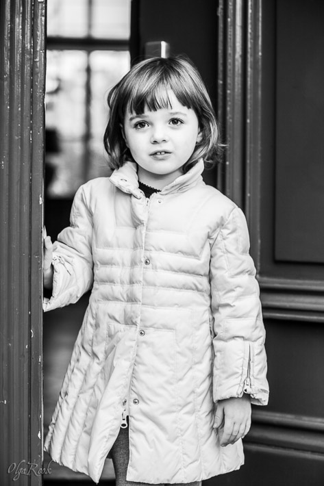 Retro-style portrait of a little girl