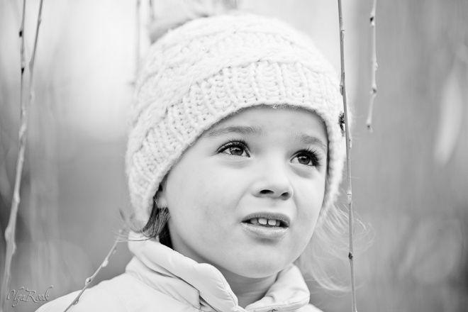 portrait of a little girl on a winter day