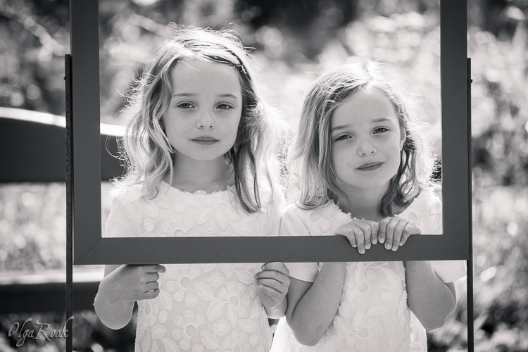 Portrait of little twin sisters