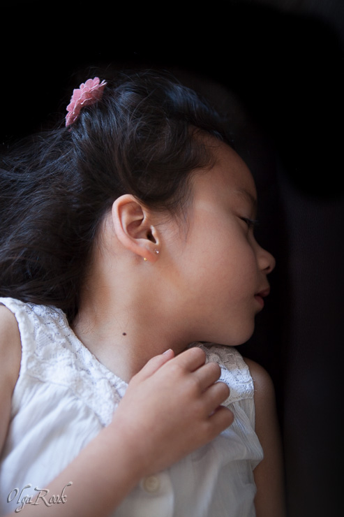 classic and dreamy portrait of a sleeping little girl