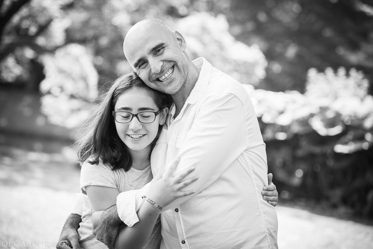 emotional father and daughter portrait