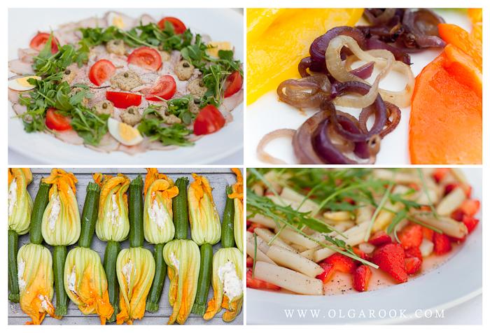 Foto's van Italiaanse gerechten: vitello tonnato, fiori di zucchini en aspergesalade met aarbeien.