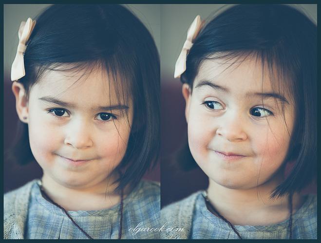 Een tweeluik met portretten van een klein meisje met donkere ogen en zwarte haar. Op de foto links kijkt ze lief en iets verlegen, terwijl op de foto rechts heeft ze een komische uitdrukking.