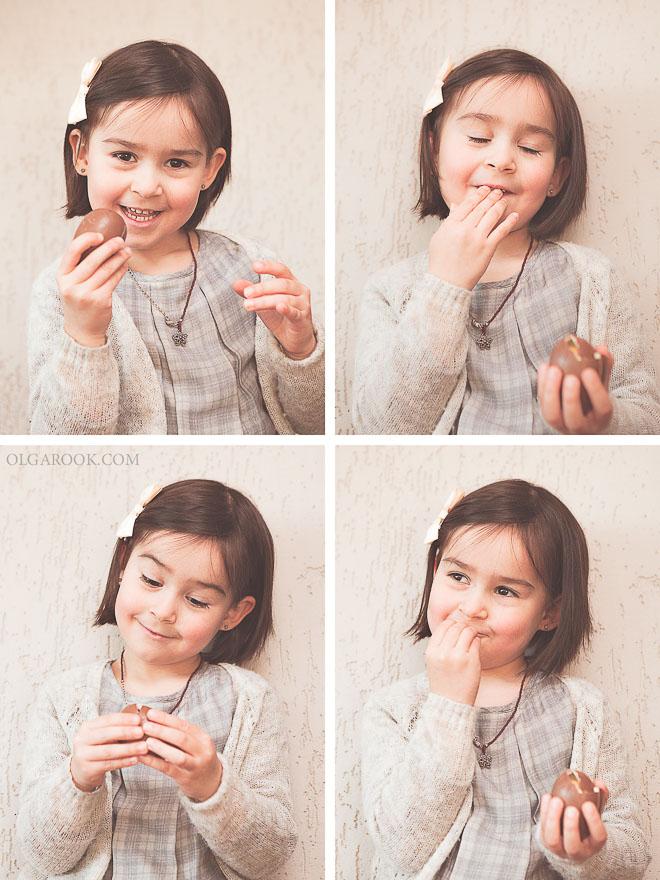 Een collage van vier foto's met verschillende komische uitdrukkingen: een klein meisje geniet van een chocolade ei.