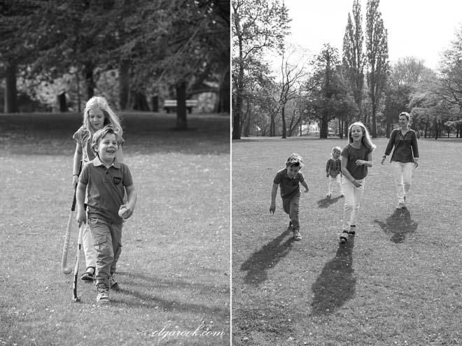 foto's van kinderen die samen in een park wandelen