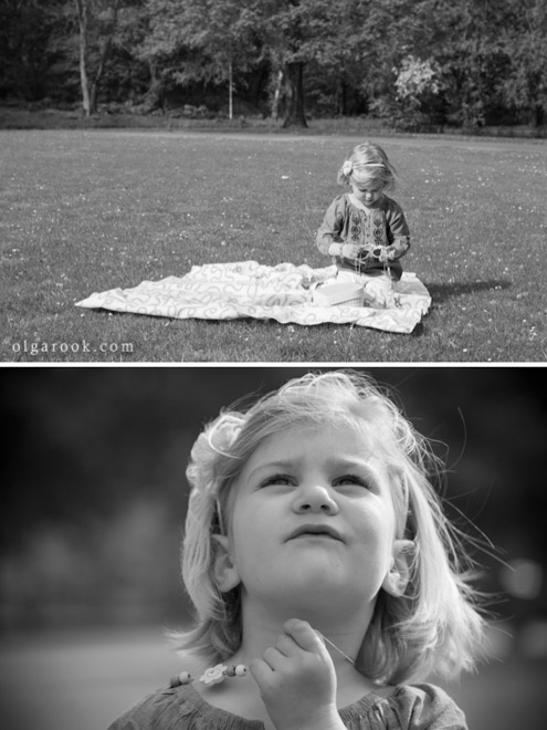 Photos of a little girl playing in the park. You can see she is in a dreamy mood.