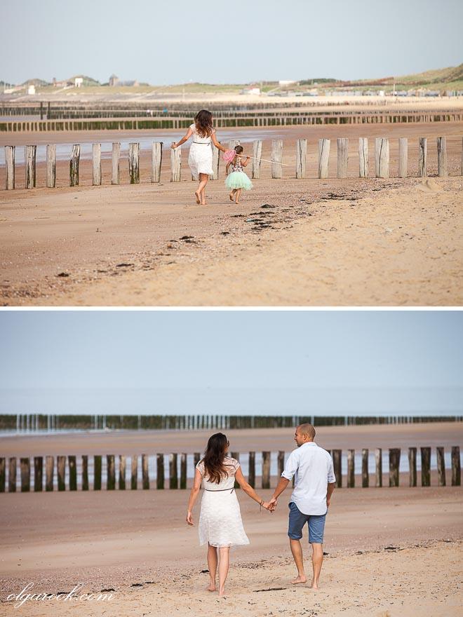 foto's van een gezin op het strand in Zeeland