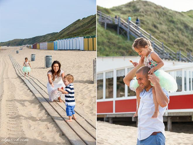 Foto van een gezin bij het strand