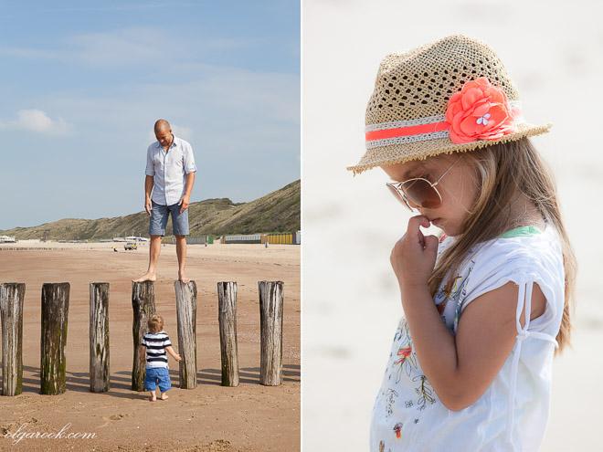 Foto's van een gezin op het strand